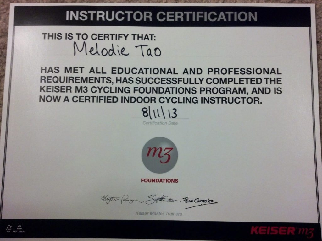 Keiser Cycle Certificate for Melodie Tao