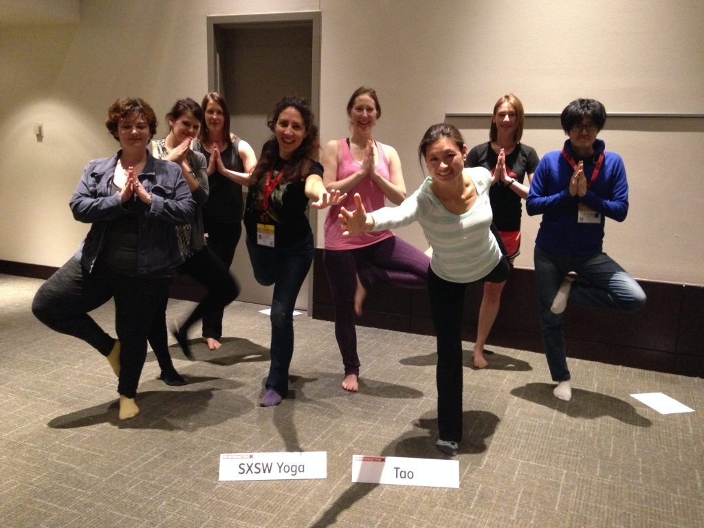 Marketing Melodie teaches yoga at SXSW