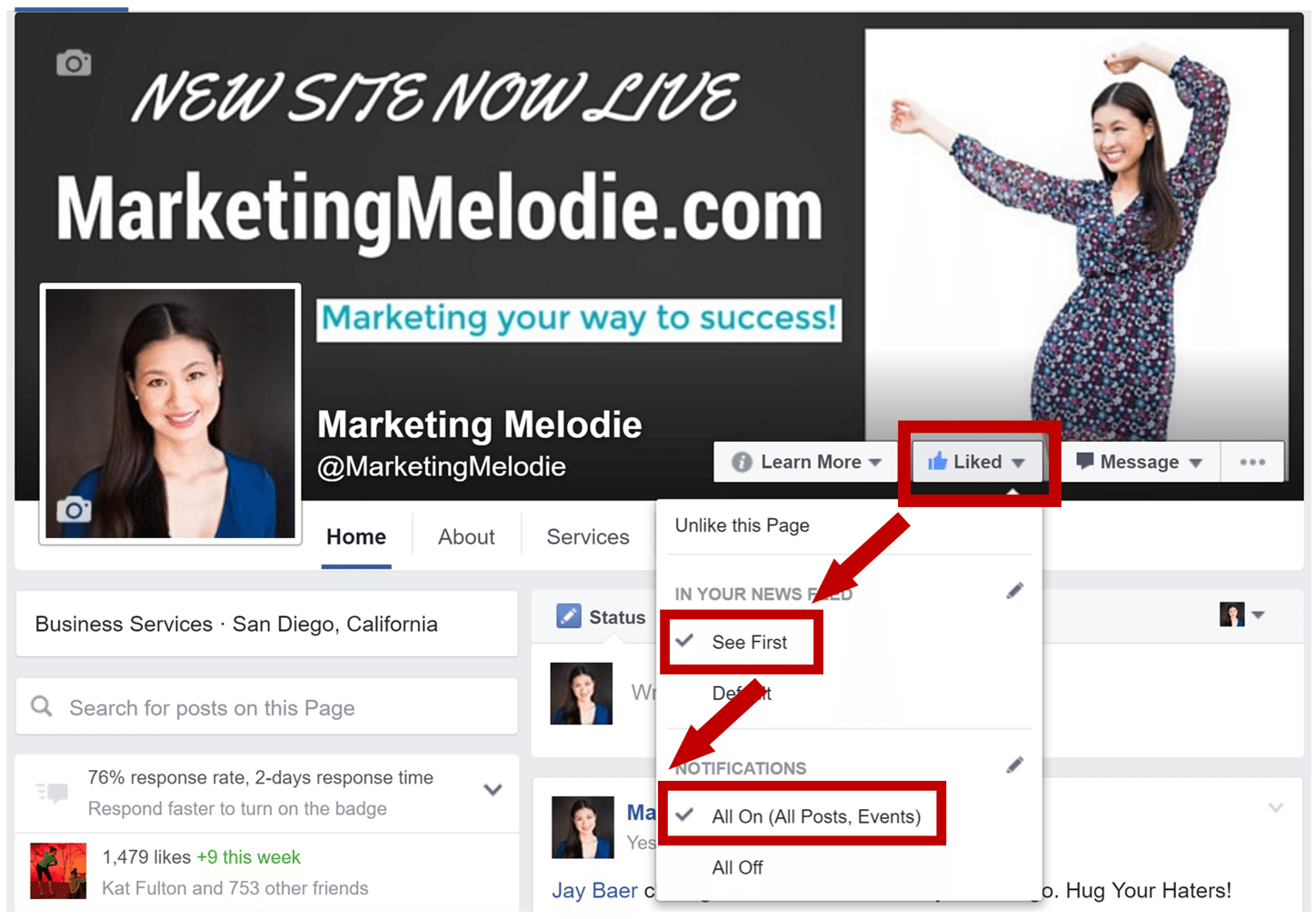 Marketing Melodie Facebook Notifications