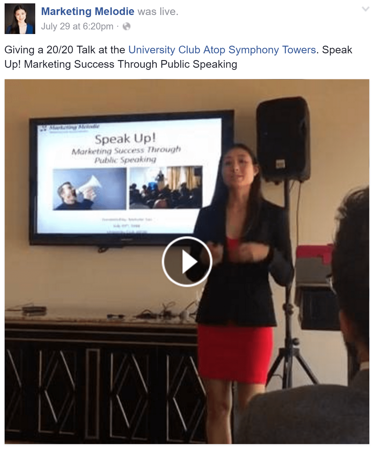 Marketing Melodie Speaking at 20 20 University Club