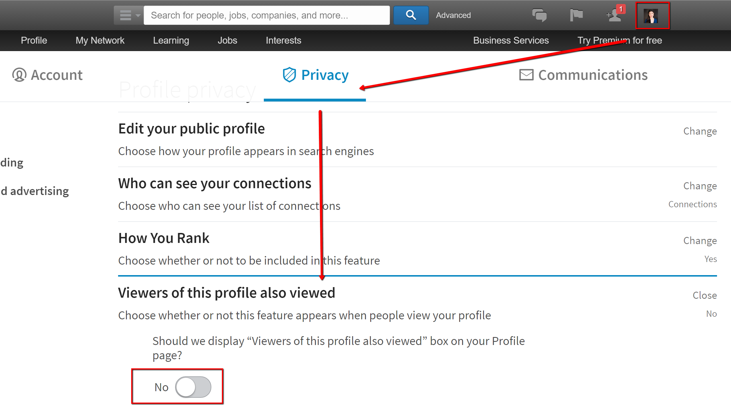 Marketing Melodie LinkedIn Privacy Settings