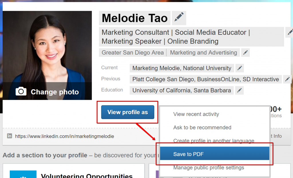 Save LinkedIn Profile as PDF