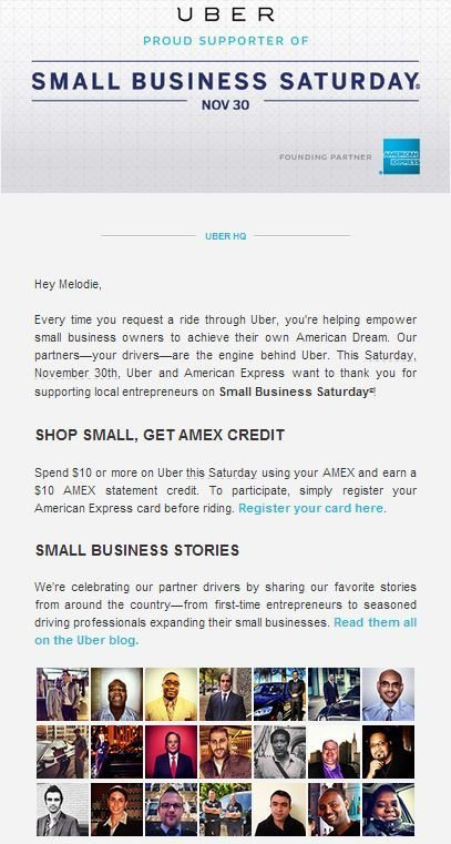 Small Business Saturday Uber Email