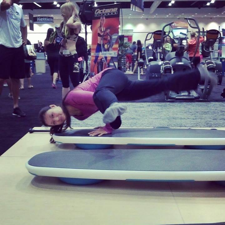 Yoga on a Surfboard at IDEA World